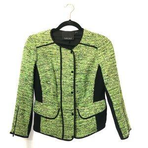 Carlisle blazer tweed green black sz 2 zip button